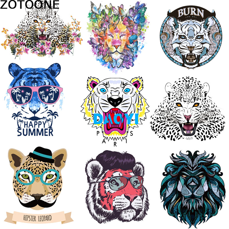 ZOTOONE Cartoon Lion Tiger Heat Transfer Patch Summer T-shirt iron on patches for clothes Hot transfer pattern of hot stamp D