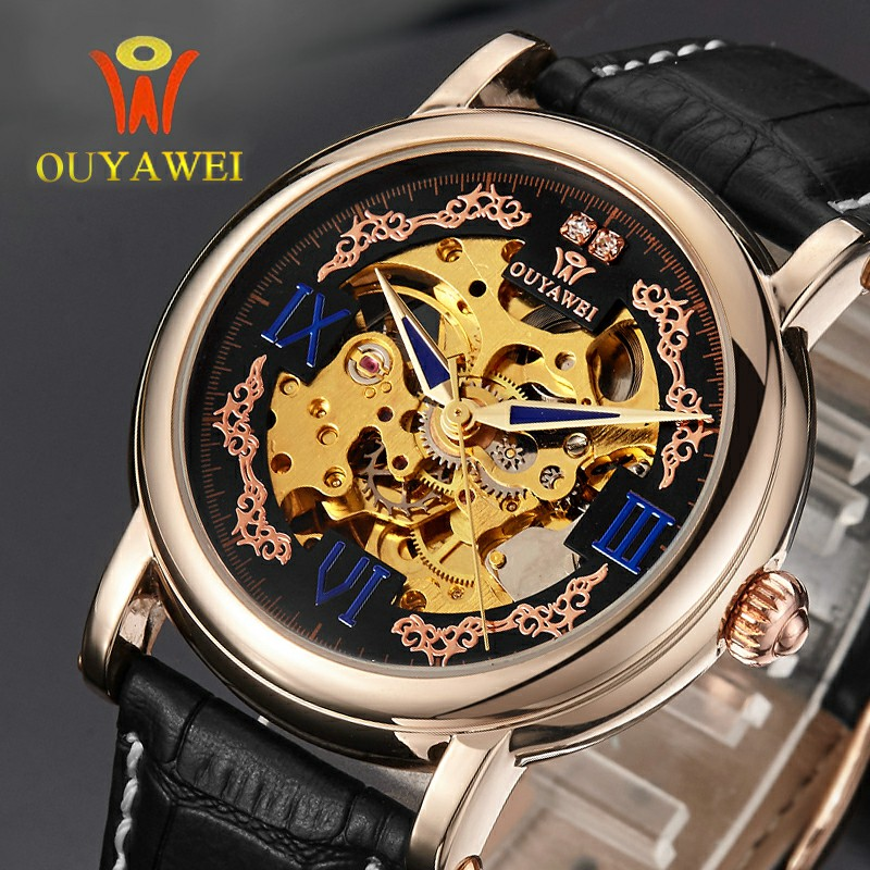 OUYAWEI Diamond Design Black Gold Watch Mens Watches Top Brand Luxury Relogio Male Clocks Skeleton Mechanical Watch Montre Homme оттяжка black diamond black diamond positron quickdraw 12см