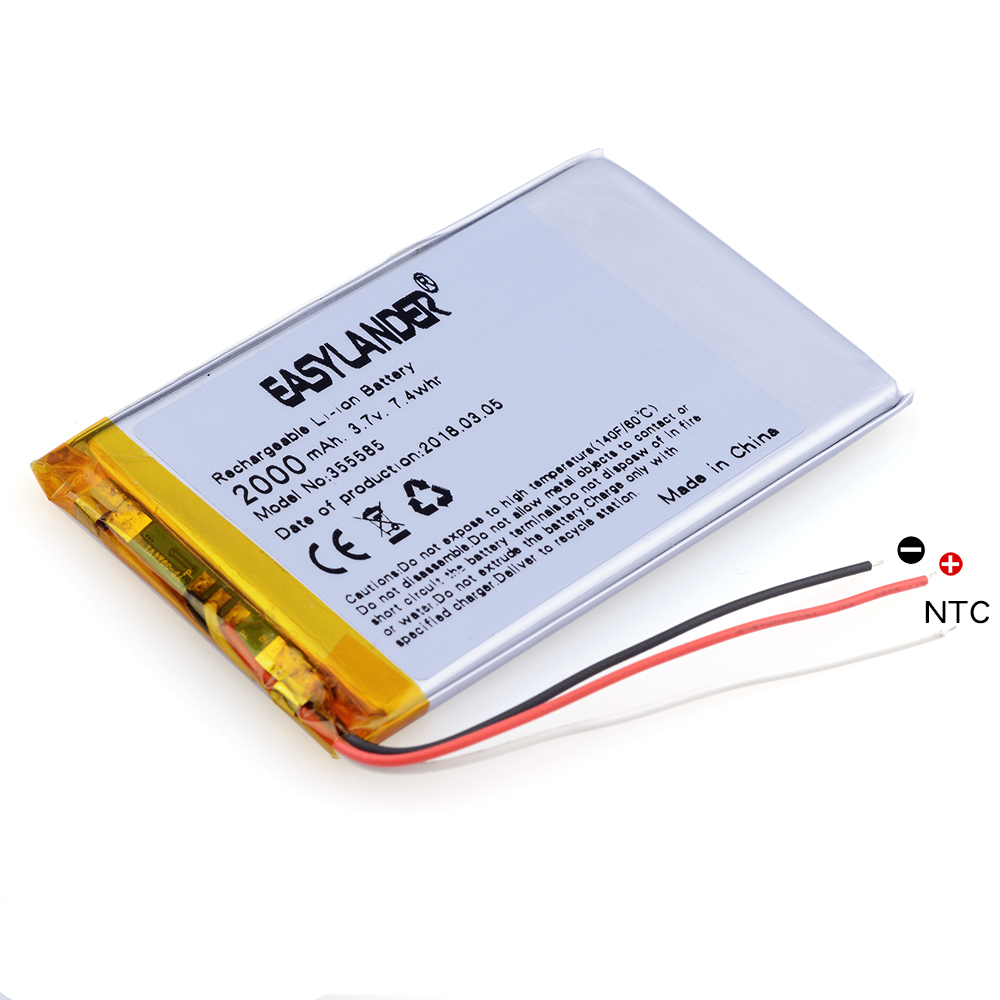 NTC 3-wire 355585 2500mAh 3.7V Lithium Polymer Rechargeable battery For Mobile phone E-Book Onyx Boox PAD LAPTOP GPS DVR shun core 2500mah 605060 3 7v story learning hine flash shoe lithium polymer battery 654958