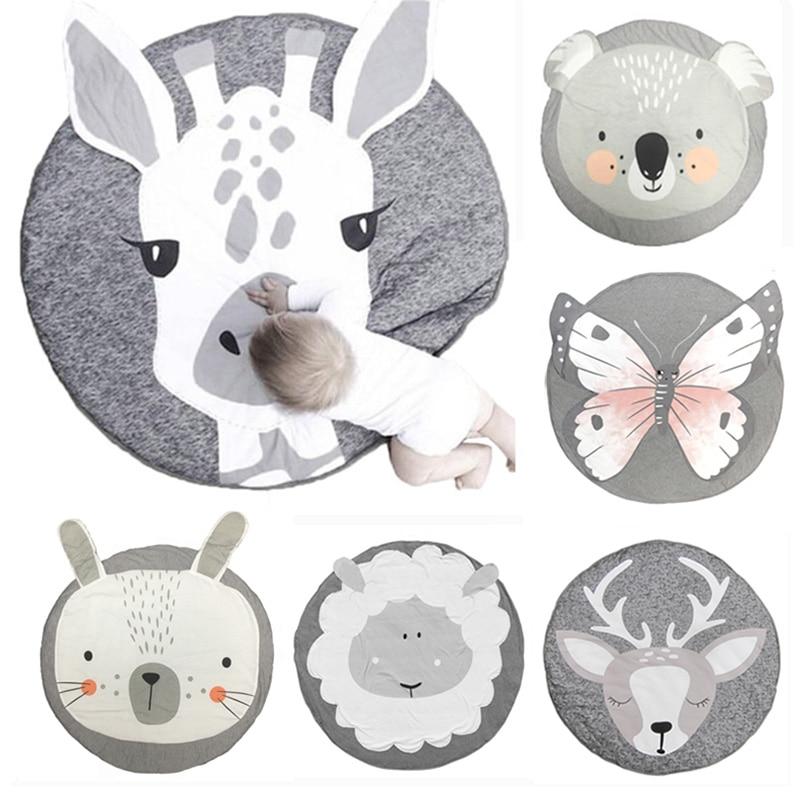 90cm Kids Play Game Mats Round Carpet Rugs Cotton Animals Play Mat Newborn Infant Crawling Blanket Floor Carpet Baby Room Decor