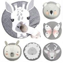 90CM mata do zabawy dla dzieci Pad okrągły dywan dywaniki bawełna zwierząt Playmat noworodka mata dla niemowlęcia koc dywan na podłogę...