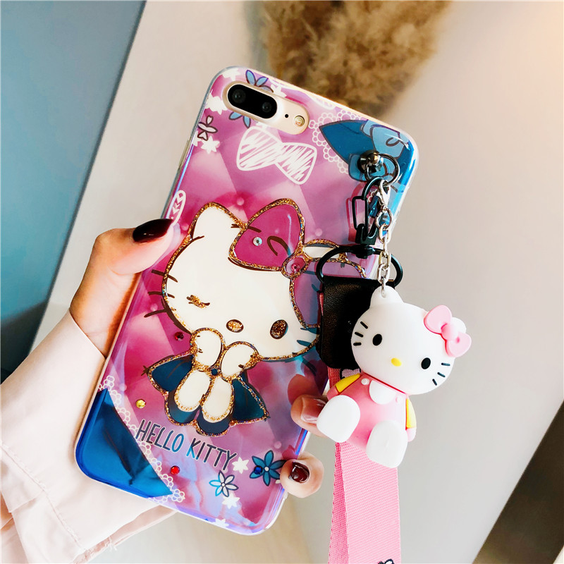 3D muñeca del gatito para iphone 8 más soporte para iphone X Blu-ray hello kitty caso de la cubierta suave para iphone 7 plus 6 s shell lindo cuerda