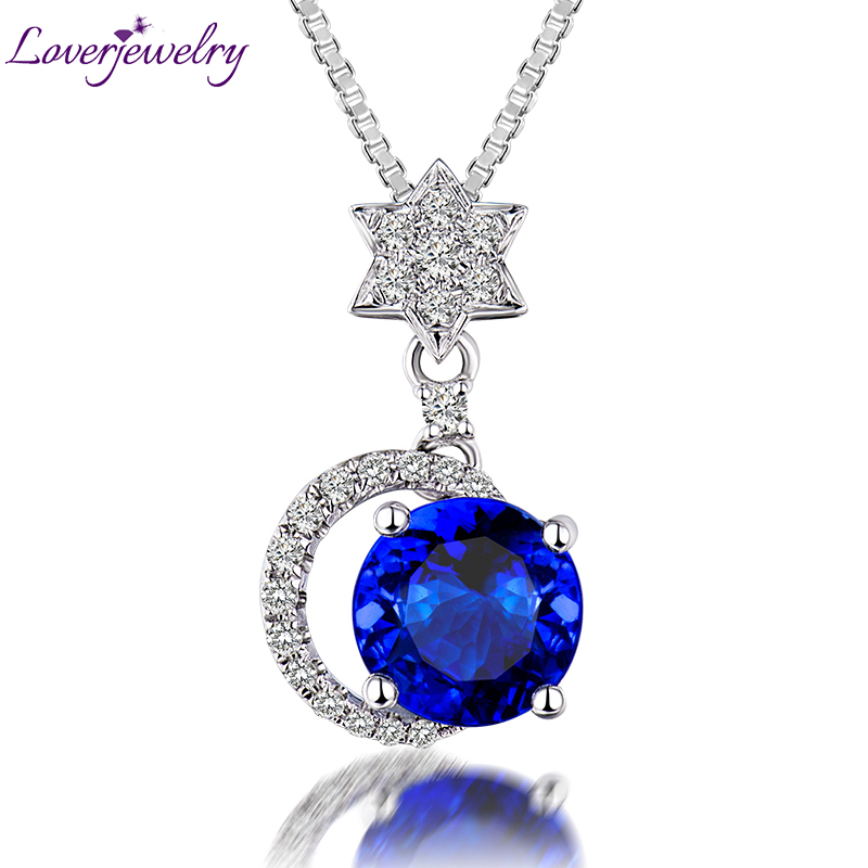 Elegant Design Solid 14K White Gold Diamond Natural Blue Tanzanite Pendant Necklace Star Shape Genuine Gem for Women Jewelry майка your sun lr0315n