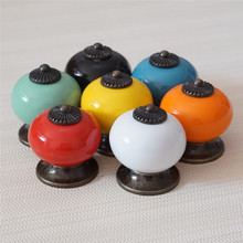 Ceramic Dresser Knob Colorful Drawer Knobs Kitchen Cabinet Pulls Door Handle Pull Red Blue Green Black Orange White Yellow