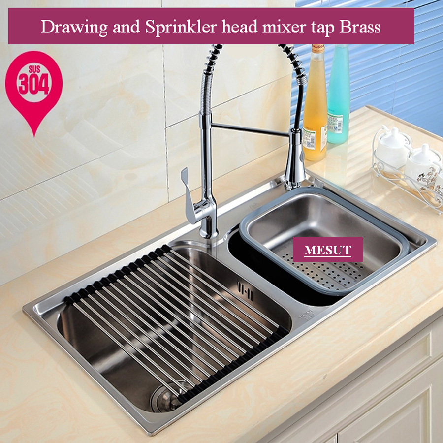 304 stainless steel brushed thicken double kitchen sink with faucet more sizes accessories complete 72 - Kitchen Sinks Cheap Prices