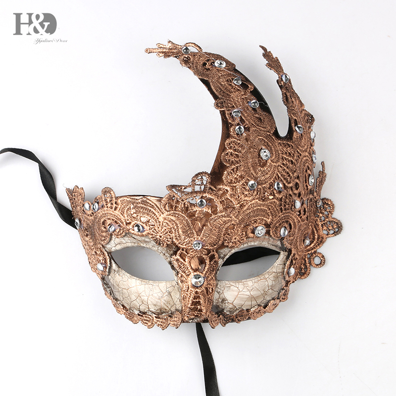 H&D Lace Venetian Mask With Long Angle Masquerade Carnival Masked Ball Fancy Dress Costume-Mardi Gras Mask -Rhinestone Mask