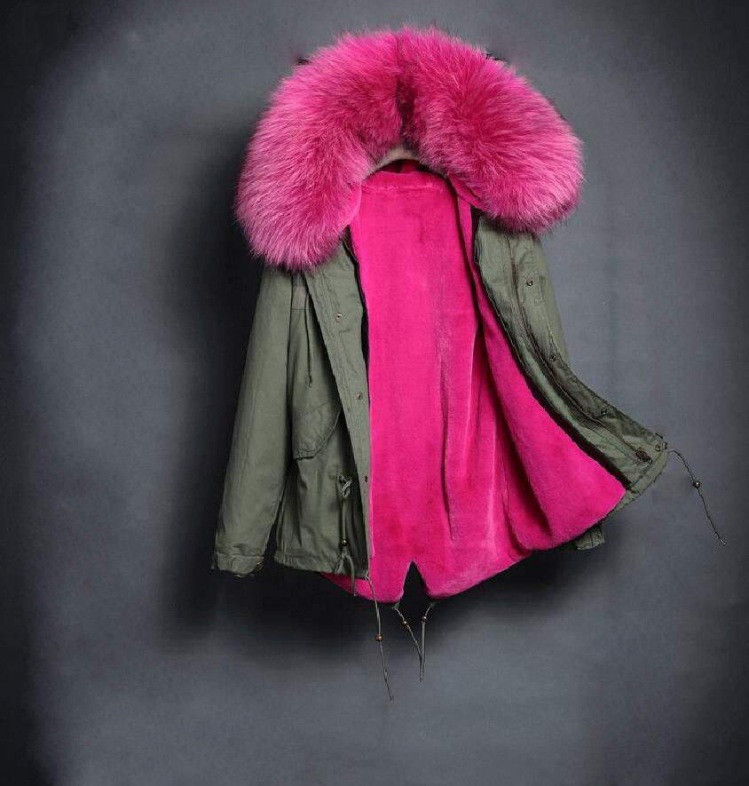 women's army green Large color raccoon fur hooded coat parkas outwear long detachable lining winter jacket brand style