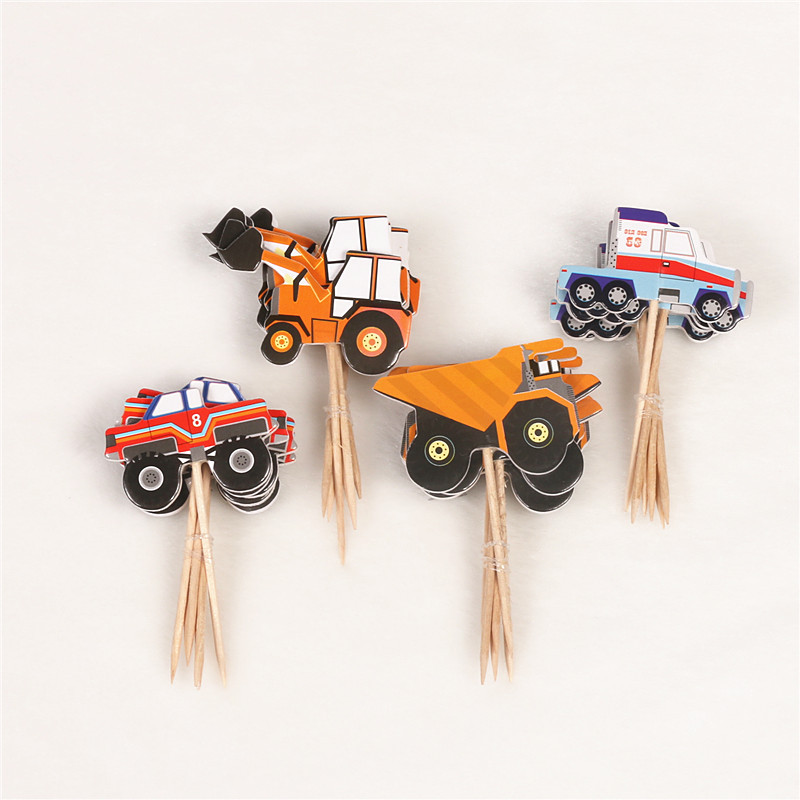 24pcs/lots Construction Vehicle Cupcake Topper Appy Birthday Party Baby Shower Children Party Decor Kids Cake Decor Supplies