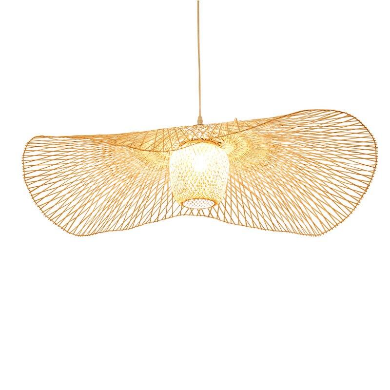 Nouveau chinois bambou tissage osier rotin ombre Cap plafonnier E27 lampes lanternes salon hôtel restaurant allée lampe