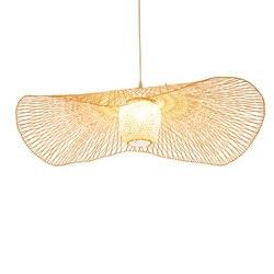 Nowa chińska tkanina bambusowa wiklinowa rattanowa czapka przeciwsłoneczna lampa sufitowa E27 lampy latarnie salon hotel nawa restauracyjna lampa w Wiszące lampki od Lampy i oświetlenie na