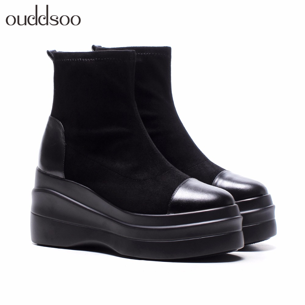 Fashion Winter Boots Women Genuine Leather Platform For Woman Party Ankle Boots For Women Wedge High Heel Black Platform Boots woman wedge heel ankle boots 2015 the latest autumn winter fashion zipper pumps boots cross straps woman wedge heel ankle boots