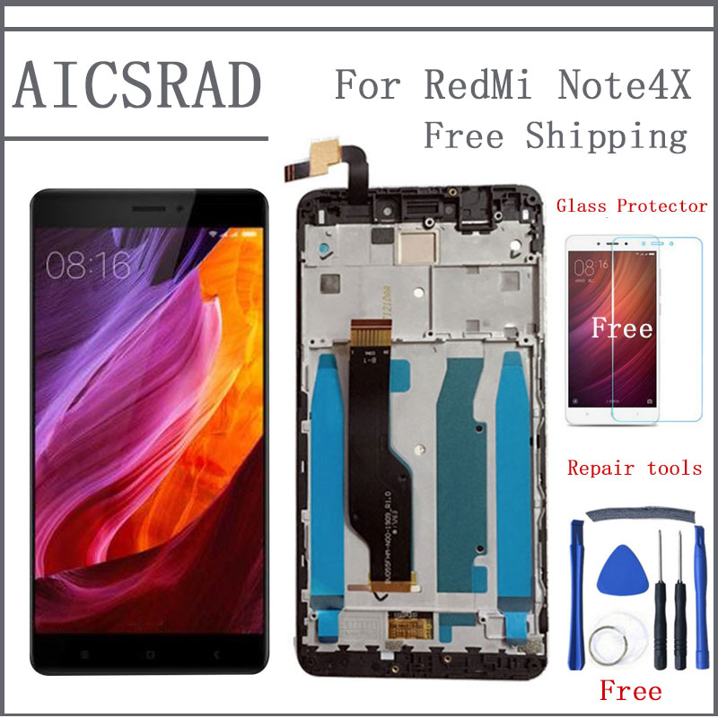 AICSRAD Per Xiaomi redmi note 4X note4X nota 4 Globale Versione Snapdragon 625 Display LCD + Touch Screen Digitizer Con Telaio
