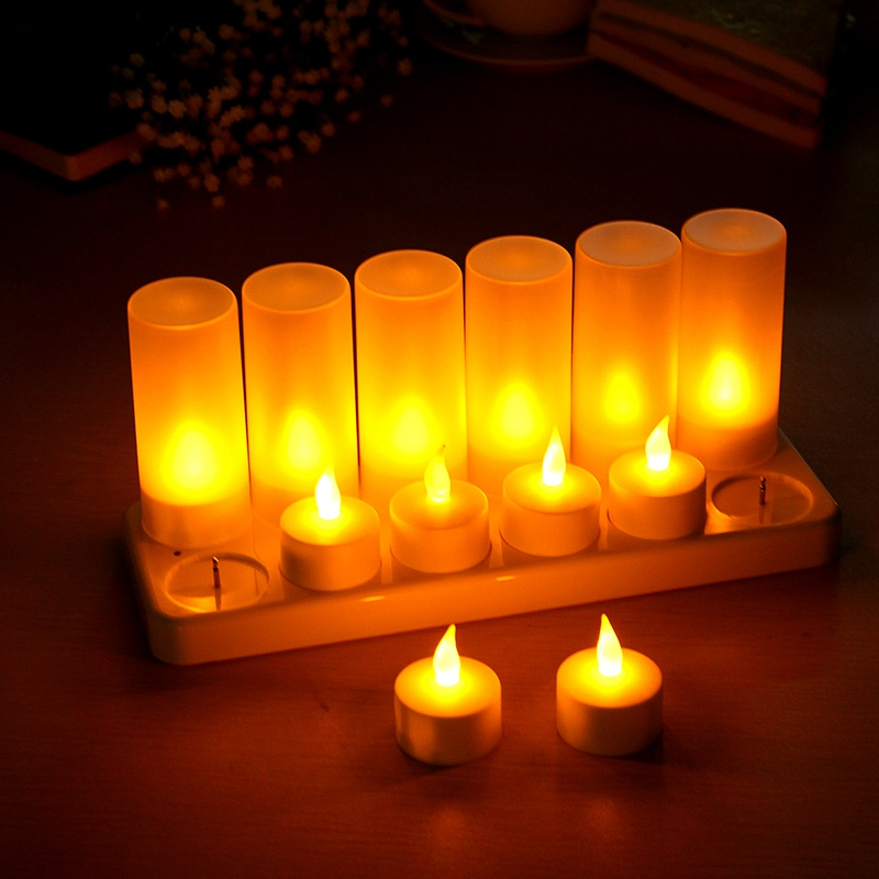 Overvalue 12pcs Rechargeable Flameless LED Candle TeaLight Night Light for Romantic Birthday Wedding Party Dinner Holidays Decor