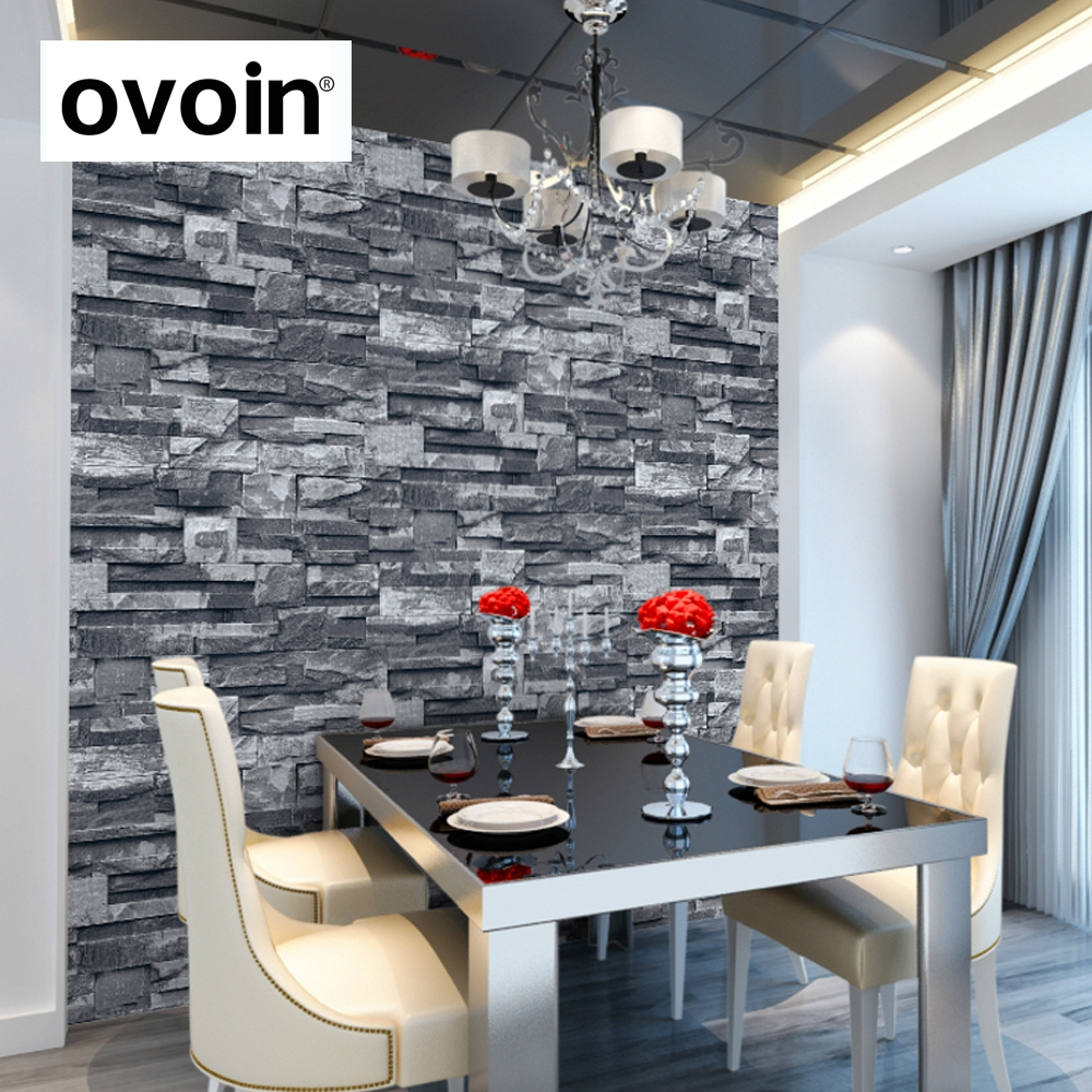 Grey black brick wall wallpaper roll faux stone effect for 3d wallpaper for kitchen walls