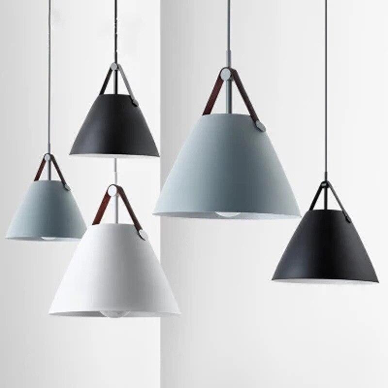Минималистичный светодиодный цветной подвесной светильник, металлическая кожаная подвеска, цилиндр, подвесные светильники для спальни, ст...