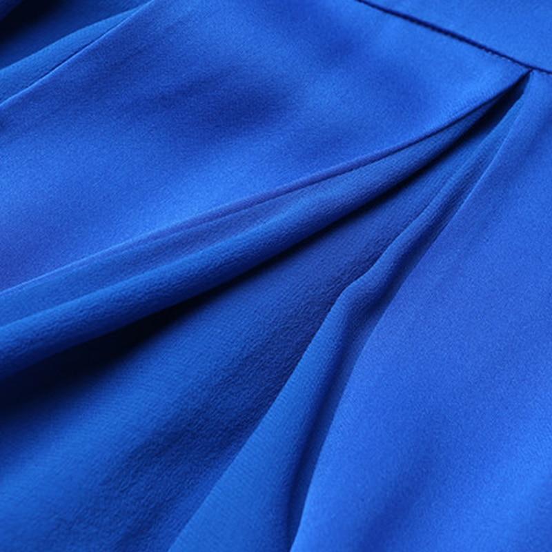 VOA Brand SIlk Blue Women Bohemian Dresses Short Sleeves Draped Solid Mid-Calf O-Neck 2017 Summer Fashion Special Design A7659
