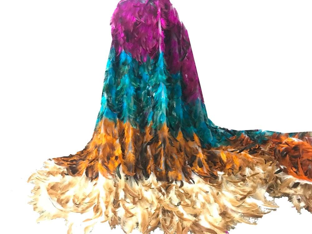 5 yards 3D fleur nouvelle mode maille tulle broderie français net dentelle tissu avec plume à la main luxe dentelle tissu DKL2