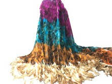 5yards 3D flower new fashion mesh tulle embroidery french net lace fabric with feather handmade luxury DKL2