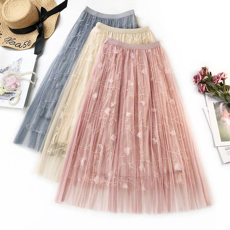 Sherhure 2019 Flower Embroidery Women Summer Mesh Skirts High Waist Boho A-Line Skirt Faldas Jupe Femme Women Long Skirt Saia