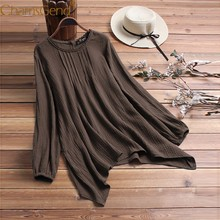 Women Casual Chiffon Long Sleeve Blouse Shirts Brown Gray Pink Loose Plus Size Woman Tops M/XL/2XL/3XL/4XL/5XL 90417(China)