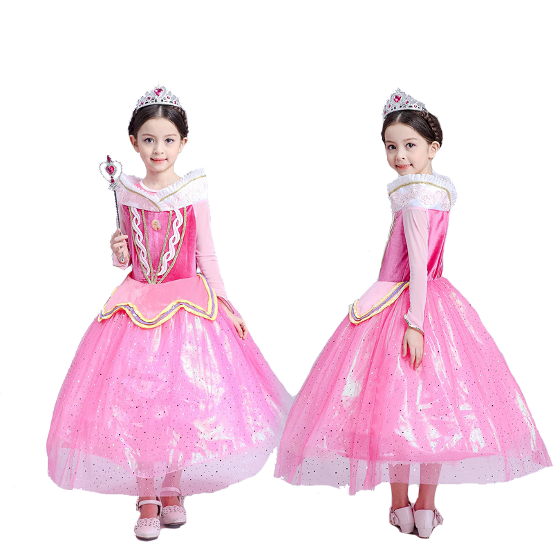Ainiel Princess Aurora Cosplay Costume Pink Fancy Long Sleeve Lace Noble Dress Costumes Party For Kid Girls