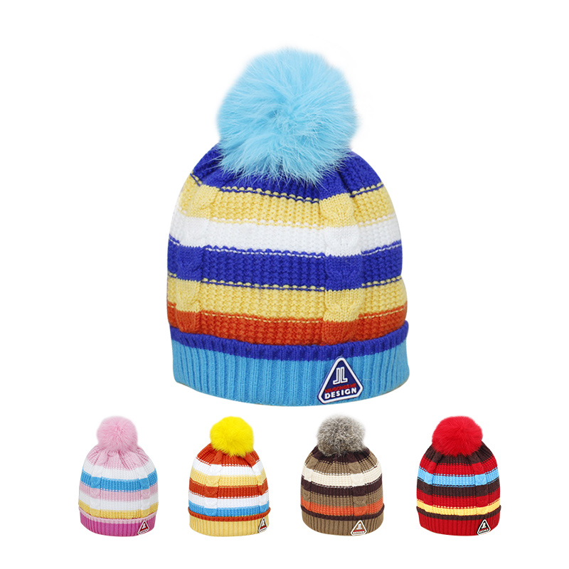 Cute Newborn Baby Hat Colorful Striped Baby Beanie Cotton Infant Hat With Pompom Soft Warm Winter Hat For Boy Baby Girl Clothing