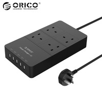 ORICO Top Verkauf schwarz Original Steckdosenleiste 4 Steckdosen-5 USB 2.4A Schnelle Lade unterstützung intelligente lade IC