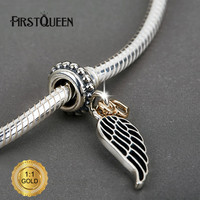 FirstQueen Angel Wing Silver Dangle With 14k Heart Fit Bracelets For Jewelry Making For Christmas Gift