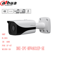 dahua 8mp bullet camera DH IPC HFW4831E SE H.265 infrate 30m POE IP 67 micro SD card Smart Detection supported Face Detection