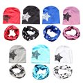 For Toddler Kids Girl Boy Star Print Winter Warm Soft Cotton Hat Cap+Scarf Set For Winter