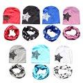 Para a Criança Crianças Menina Menino Estrela Imprimir Inverno Quente Cap Hat + Scarf Set Para O Inverno de Algodão Macio