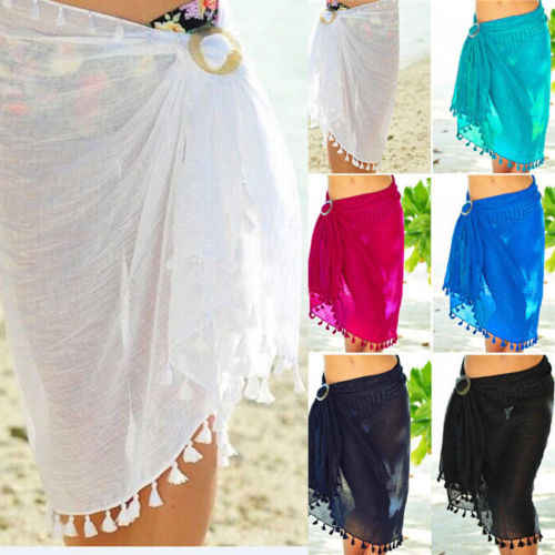 dde87027fd ... ITFABS Sexy Chiffon Tassel Beach Cover Women Bikini Cover Up Swimwear  Sheer Beach Wrap Skirt Sarong ...
