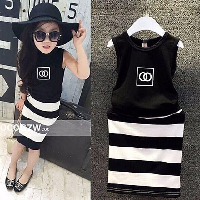 f1d97bff398a6 Mode enfants noir sans manches débardeur chemise + noir et blanc rayé  filles d été