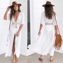 Women Beach Cover Up Summer Bandage Lace Up V Neck Long Sleeve Crochet Swimsuit Cover Up Sexy See-Through Beach Dress цена