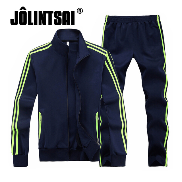 Jolintsai Striped Sweatshirts Pants Tracksuit Men 2016 Men's Casual Suits Hip Hop Moleton Masculino Mens Hoodies Sweat Suit