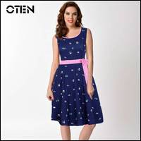 IHOT-Summer-tunics-Sleeveless-Floral-Print-Bowknot-Patchwork-Party-Picnic-Rockabilly-Swing-Skater-Pleated-dress-vestido