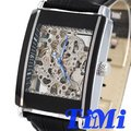 wholesale FULL SILVERY SEE THROUGH SQUARE DIAL AUTOMATIC REAL LEATHER MENS WRIST WATCH NEW