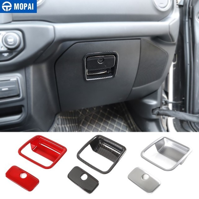 MOPAI Interior Mouldings ABS Car Co-pilot Storage Box Handle Decoration Cover Sticker for Jeep Wrangler JL 2018+ Car Accessories