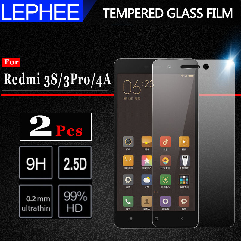 3s-Glass Screen-Protector Full-Cover-Film Redmi3s Xiomi For 4A 3-Pro On 2pcs 3x4a