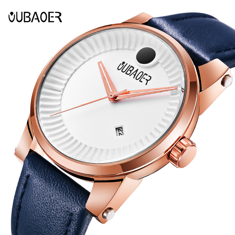 OUBAOER Original Watch Men Sport Quartz Men Watches Auto Date Wrist Watch Relogio Time Hour Clock Reloj Hombre Mens Watches shiweibao cool watch men sport watch men golden big case four time zones military watches date leather strap mens quartz watches