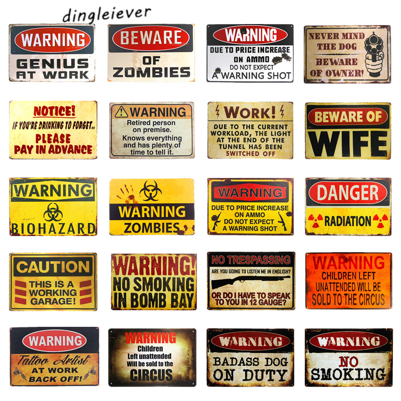 Vintage Metal Sign Warning Danger Sign Man jeskynní garáže výzdoba nástěnka
