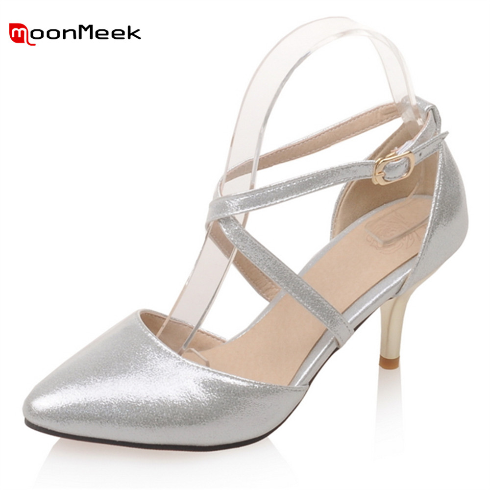 MoonMeek 2018 new fashion spring autumn ladies thin high heel shoes hot pointed toe with buckle sexy women pumps moonmeek fashion hot sale new arrive spring autumn women shoes sexy thick high heels pointed toe lace up ankle boots square heel