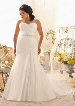 Free Shipping Discount Fishtail Sweetheart Court Train Beaded Waist Pleats Satin Wedding Dresses Plus Size Bridal