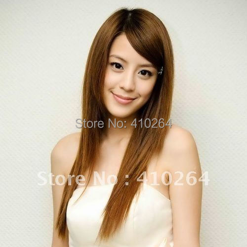 $wholesale_jewelry_wig$  Women's Fashion Long Straight Light Brown Inclined Bangs Party Synthetic Wig COLOR 33#