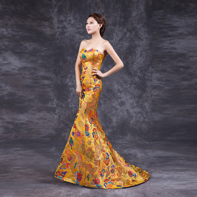 Hot sale 2016 fashion yellow cheongsam qipao long chinese for Chinese style wedding dress