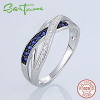 Silver Rings For Women Engagement Wedding Ring Blue And White CZ Diamond Rings Pure 925 Sterling