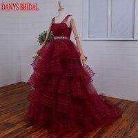 Red Prom Dresses Suknia Balowa Tulle Ruffle Kobiety Party Suknie Wieczorowe dla Graduation vestido de festa formatura baile longo