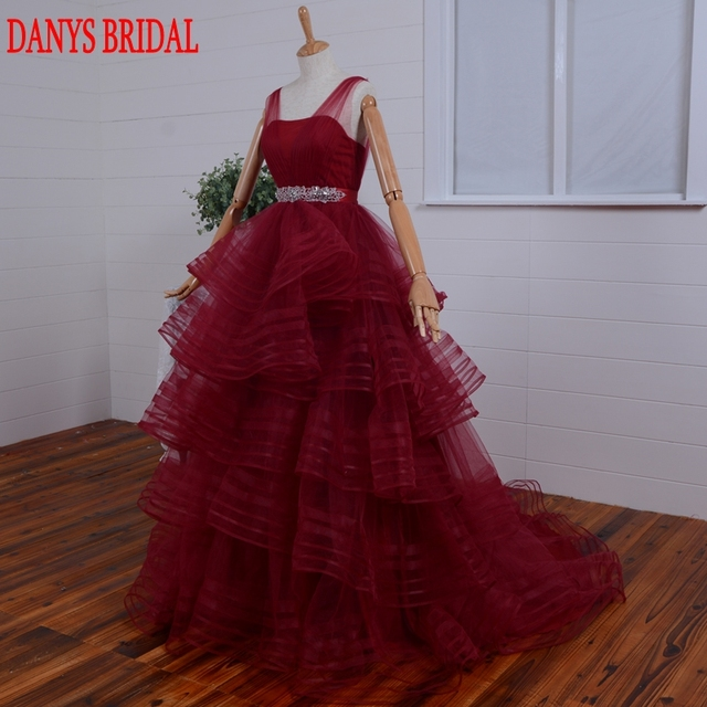 Aliexpress.com : Buy Red Prom Dresses Ball Gown Tulle Ruffle Women ...