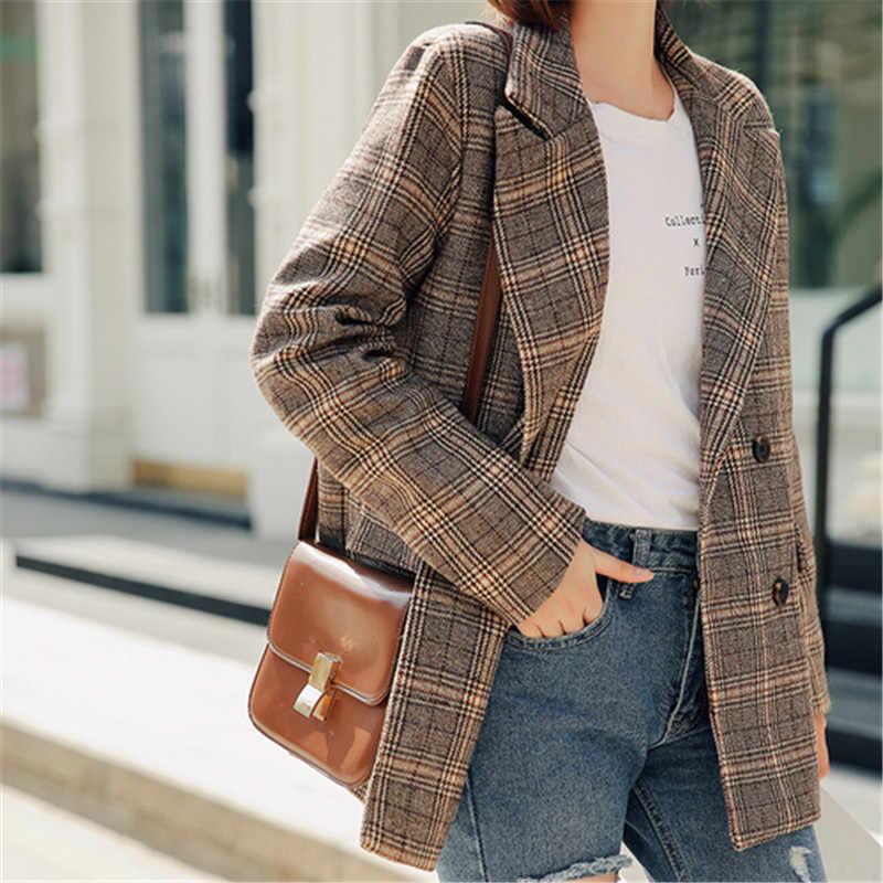 chaqueta casual a cuadros para mujer