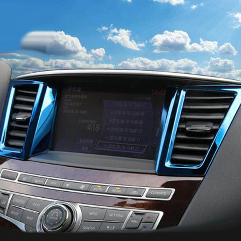 Console dashboard Central GPS air conditioning outlet vents cover decorative sticker for Infiniti QX60 JX35 interior Accessories